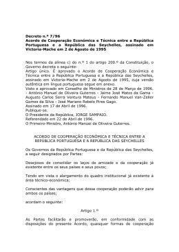 Acordo de Cooperação Económica e Técnica entre a República