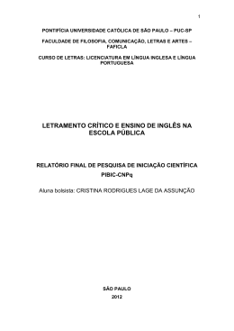 letramento crítico e ensino de inglês na escola pública - PUC-SP