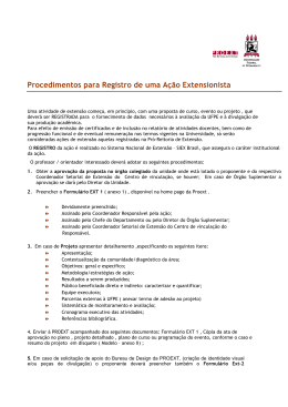 Procedimentos para Registro de uma Ação Extensionista