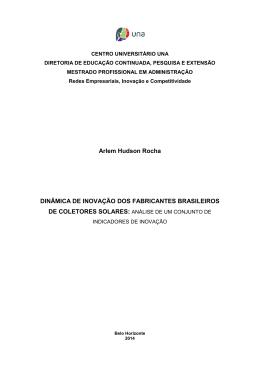 Arlem Hudson Rocha DINÂMICA DE INOVAÇÃO DOS