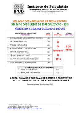 RELAÇÃO DOS CLASSIFICADOS NA 1ª FASE DA - IPUB