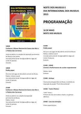 programação noite dos museus e dia internacional dos museus 2015
