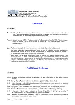 Antibióticos b-lactâmicos. - Universidade Federal do Paraná