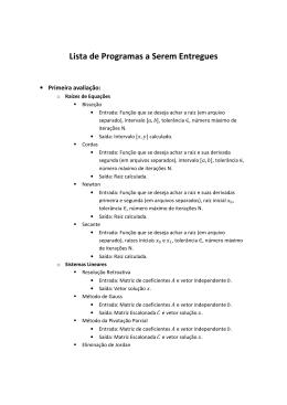 Lista de Programas a Serem Entregues