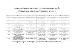 cronograma de defesa pública de tcc 2015