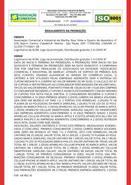 REGULAMENTO DA PROMOÇÃO FRENTE Associação