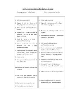 INFORMAÇÕES DAS NEGOCIAÇÕES COLETIVAS - Sintraconst-ES