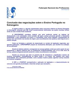 Conclusão das negociações sobre o Ensino Português no