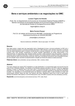 Bens e serviços ambientais e as negociações na OMC