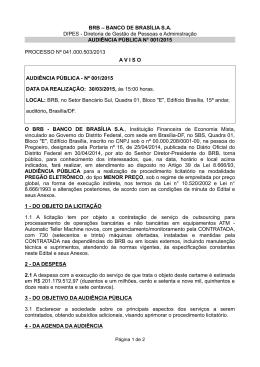 BRB – BANCO DE BRASÍLIA S.A. DIPES