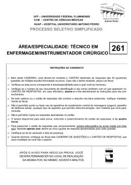 ÁREA/ESPECIALIDADE: TÉCNICO EM ENFERMAGEM