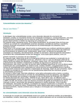 VULNERABILIDADES SOCIAIS AOS DESASTRES
