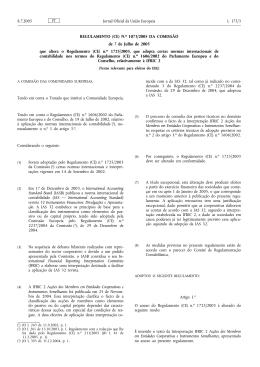 REGULAMENTO (CE) - Comissão de Normalização Contabilística