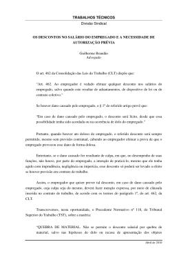 TRABALHOS TÉCNICOS Divisão Sindical OS DESCONTOS NO