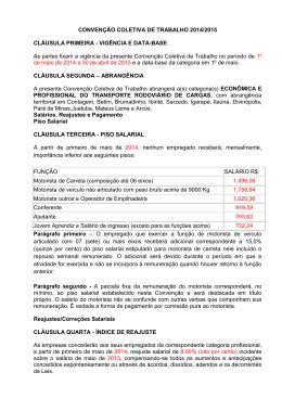 CONVENÇÃO COLETIVA DE TRABALHO 2014/2015 CLÁUSULA