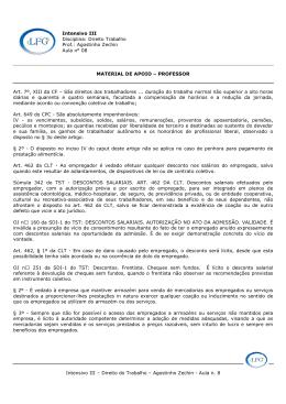 Intensivo III – Direito do Trabalho – Agostinho Zechin