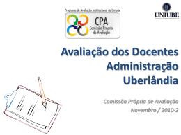 Avaliação dos Docentes Administração Uberlândia