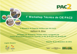 Certificados Pendentes do 1º Workshop Técnico do CIE