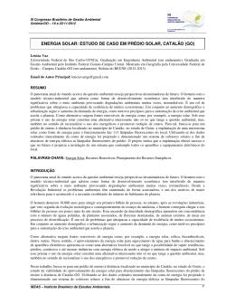 energia solar: estudo de caso em prédio solar, catalão (go)