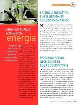 Usina de FURNAS economiza energia