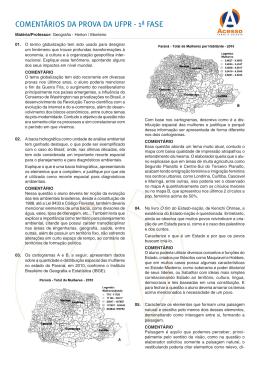COMENTÁRIOS DA PROVA DA UFPR - 1ª FASE