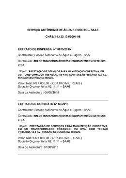 Extrato de Dispensa nº 0075/2015. Contratado