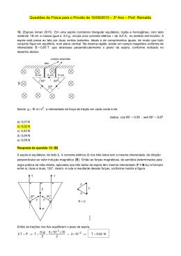 Questões de Física para o Provão de 10/09/2015 – 3º Ano – Prof