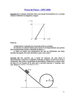 Prova de Física – CIPC 2005