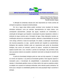 IMPACTOS GENÉTICOS DA INTRODUÇÃO DE PEIXES EM
