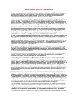 INTERAÇÕES ENTRE VEGETAÇÃO E FAUNA SILVESTRE Desta