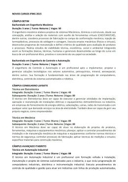 NOVOS CURSOS IFMG 2015 CÂMPUS BETIM Bacharelado em