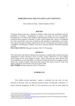 1 FERRAMENTAS DA WEB 2.0 NA EDUCAÇÃO À DISTÂNCIA Deiri