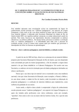 """OS """"CADERNOS PEDAGÓGICOS"""": O CONFRONTO ENTRE DUAS"""