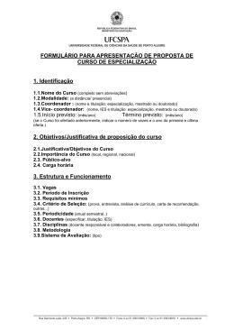 Formulário para proposição de Curso