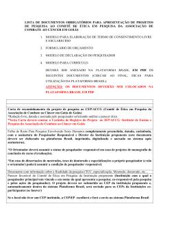 LISTA DE DOCUMENTOS OBRIGATÓRIOS PARA