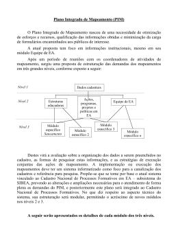Plano Integrado de Mapeamento (PIM)