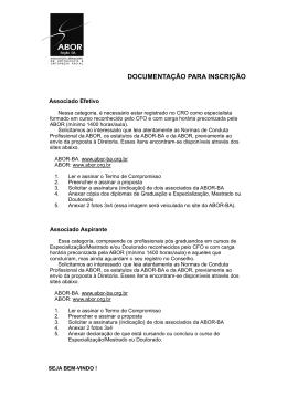 Instruções para inscrição - ABOR-BA