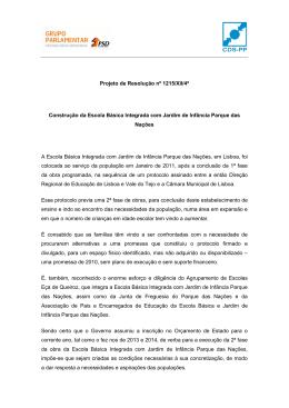 Projeto de Resolução nº 1215/XII/4ª Construção da Escola Básica