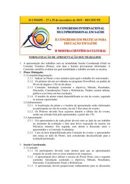 NORMATIZAÇÃO DE APRESENTAÇÃO DOS TRABALHOS 1. A