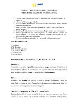 NORMAS PARA SUBMISSÃO DOS TRABALHOS IIII