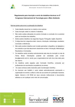 do regulamento para inscrição dos trabalhos.
