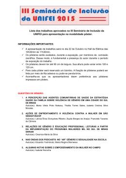 Lista dos trabalhos aprovados no III Seminário de Inclusão da