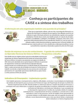 Conheça os participantes do CAISE e a síntese dos trabalhos