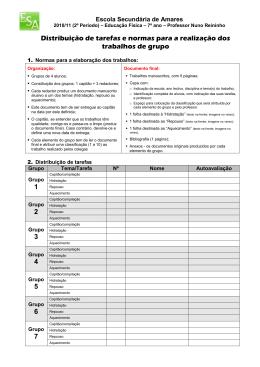Distribuição de tarefas e normas para a realização dos trabalhos de