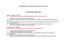 cronograma de apresentação dos trabalhos