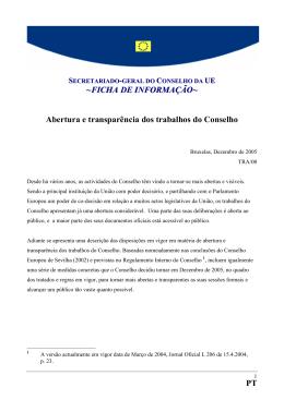 PT ~FICHA DE I FORMAÇÃO~ Abertura e transparência dos