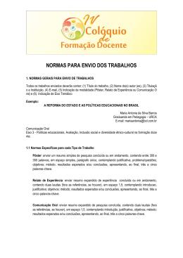 NORMAS PARA ENVIO DOS TRABALHOS