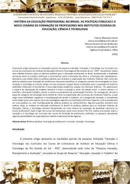 história da educação profissional no brasil: as políticas