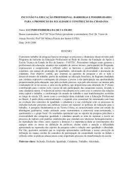 INCLUSÃO NA EDUCAÇÃO PROFISSIONAL: BARREIRAS E