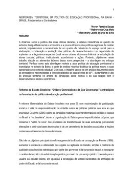 abordagem territorial da política de educação profissional na bahia